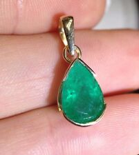 18K Yellow Gold 2.5 CT Deep Blue Green Colombian Emerald Pear Drop Pendant