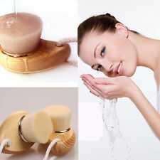 Soft Mild Fiber Face Clean Deep Cleansing Wash Pore Facial Care Brush Wood