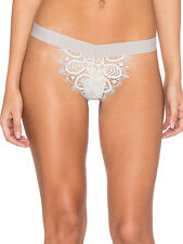 For Love & Lemons Skivvies Penelope Silver Grey Lace Thong Knicker Pant S L 8 12
