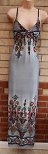 PARISIAN GREY RED BLUE YELLOW PAISLEY BAROQUE LYCRA STRAPPY LONG MAXI DRESS M L
