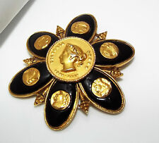 Vintage signed CORO Maltese cross flower Roman goddess BROOCH pin lucite