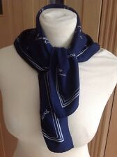 """FANTASTIC JACQMAR NAVY & WHITE NECK SCARF 24"""" X 25.5"""" USED GOOD CONDITION"""