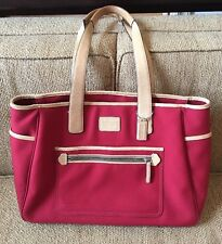 COACH Hamptons Diaper Bag 5975 Red Canvas Tan Leather Zip Tote Briefcase Vintage