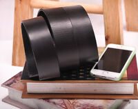Quality Top-Grain Real Cow Leather Mens Belt Waist Band Plain Replacement Black