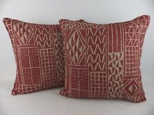 "2 Large 20"" Red Natural Linen William Yeoward Khalana Pillow Cushion Covers"