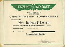 1950 Basketball Tournament Certificate Japan Military Base  Itazuke AFB