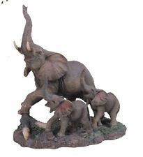 10 inch Gray Elephant w/ Babies Nature Wildlife Animal Statue Collectible Wild