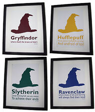 Harry Potter Inspired Sorting Hat - 4 Houses Set - 6 x 4 Art Print Postcards