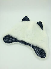 GIRLS WHITE FAUX FUR FLYING HAT WITH EARS NAVY COTTON LINING SIZE 52cm 0132