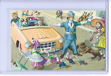 ALFRED MAINZER ANTHROPOMORPHIC DRESSED CATS CROSSING GUARD POSTCARD #4877 TURKEY