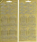 WEDDING RINGS, HEARTS & WINDOWS GOLD PEEL OFF STICKERS - 2 SHEETS