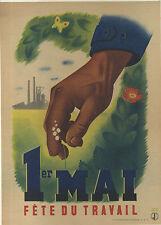 AFFICHE ANCIENNE GUERRE 1939/45 1er MAI   FETE DU TRAVAIL ROLAND HUGON