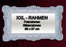BILDERRAHMEN FOTORAHMEN FOTO BILD ROKOKO ANTIK 96x57  WEIß SILBER RAHMEN NEU