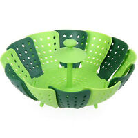 1pc Silicone Folding Fruit Vegetable Collapsible Steamer Basket Cooking Tools