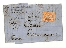 BF61 1865 France *A CHARLEVILLE* Carcassonne EL Letterhead {samwells-covers}