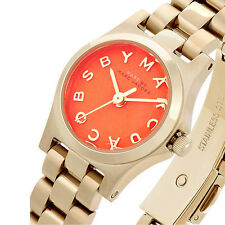 BRAND NEW MARC BY MARC JACOBS MBM3202 HENRY DINKY ORANGE DIAL GOLD WOMEN'S WATCH