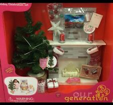 """Our Generation Holiday Celebration Fireplace Set for 18"""" American Girl Dolls NEW"""