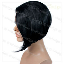 Posh Short wig Asymmetric Bob Hair Jet Black Ladies Wigs skin top from WIWIGS UK