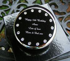 Personalizado de diamantes grabadas Plateado Redonda Cristal Joyas / Caja de chucherías