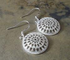 Damen Ohrringe Ohrhänger Rund - Schmuck - Silber plattiert 0861