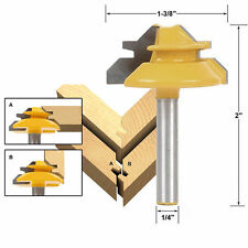 """New 45 Degree 1/2"""" Stock 1/4"""" Shank Small Lock Miter Router Bit Wood Cutter Tool"""