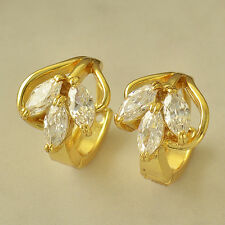 Childrens Jewelry Real 24K Yellow Gold Filled Womens Crystal Leaf Hoop Earrings