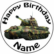 Military Tank Army Vehicle Personalised Round Icing Cake Topper - Easy Pre-cut