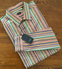 "PAUL SMITH LONDON SIGNATURE MULTI STRIPE SLIM FIT SHIRT 17"" COLLAR MADE IN ITALY"