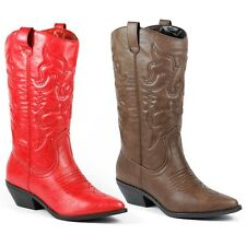 Faux Leather Cowboy Western Mid-Calf Slouchy Riding Boot SODA Reno-s Red Brown