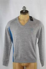 AUTH Fred Perry Men's Seam Shift 100% Wool V-Neck Sweater  40/M
