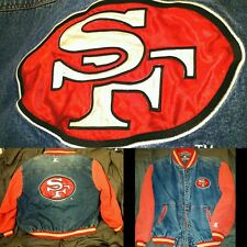 FORTY NINERS STARTER JACKET RARE XL VINTAGE RETRO SF 49ERS DENIM JEAN SATIN RICE