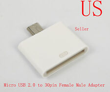 Dock 30pin Female to Micro USB 2.0 Male Adapter Samsung Galaxy S3 SIII S4 Note2