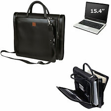 Compu-Briefcase Expandable Notebook Computer Leather Trim Laptop Bag Men/Women
