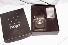 Zippo American Flag Cigarette Lighter & Leather Case Stars Stripes Collectible