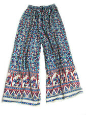 Fashion Hippie Boho Cotton Elephant Print Wide Leg Long Palazzo Pants Comfy Yoga