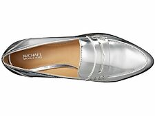 NIB $135 Size 5 Michael Kors Connor Silver Metallic Leather Loafer