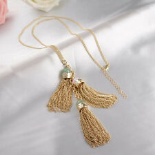 Haute Couture Natural Jade & Rose Quartz Gemstone 3 Fringe Gold Tassel Necklace