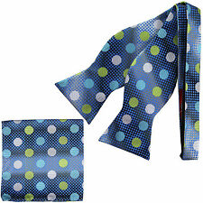 New in box Brand Q Men's Self-tied Bow Tie & Hankie Polka dots blue yellow white