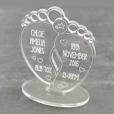 Personalised Newborn Baby Feet Hearts Keepsake Boy Girl Christening Gift Present