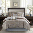 BEAUTIFUL LUXURIOUS ELEGANT BLUE GREY TAUPE SILVER GOLD SCROLL COMFORTER SET NEW