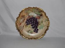1891-1914 Antique Limoges Hand Painted Life Like Grape Cluster Charger By Albert