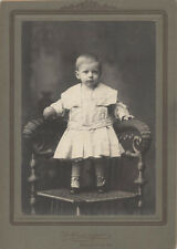 CABINET CARD PORTRAIT OF ADORABLE CHILD ON WICKER CHAIR W/ BALL - BRADDOCK, PA