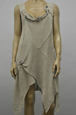 ZUZA BART EUROPEAN ASYM SUMMER LINEN KNIT SLEEVELESS PULLOVER FLORAL TUNIC NAT
