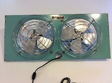 Vintage Electric Metal Fan Eskimo Turquoise Double Window Exhaust #08108 Works