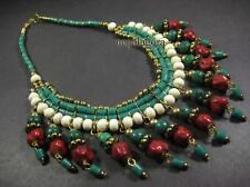 N4050 Tribal Brass glass beads bone Ethnic gypsy FASHION NECKLACE TIBET Jewelry