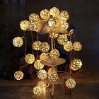 New 20 White Rattan Ball Light String Fairy Lamp Wedding Party Xmas Decoration