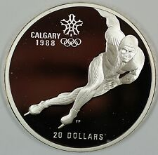 1985 Canada $20 Proof 1988 Calgary Olympic Coin- Speed Skating- w/Capsule