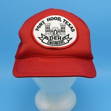 Vintage Fort Hood Texas DEH Engineers Hat Snapback Trucker Cap Red Mesh Back