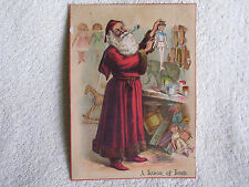 Santa Claus Making Toys in Workshop/Large 1890s Trade Card/Minneapolis MN Store