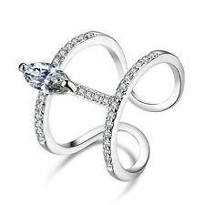 Punk Marquise Cut CZ Crystal Cute Open Rings Band White Gold Filled Jewelry